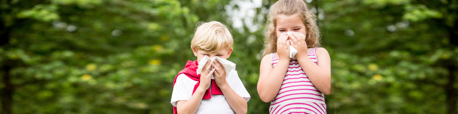 Children with allergy at the park