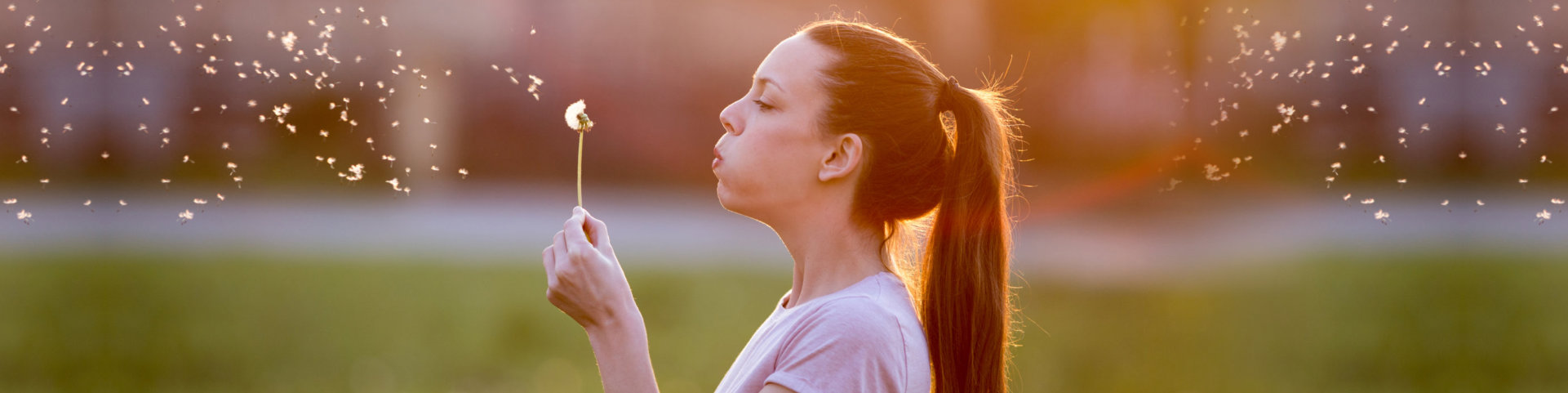 Female blowing flowers